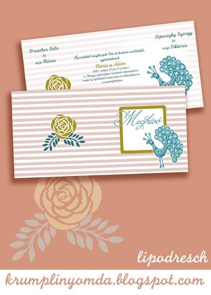 rózsás-pávás meghívóterv