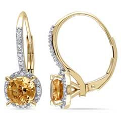6.0mm Citrine and Diamond Accent Frame Drop Earrings in 10K Gold  - Peoples Jewellers