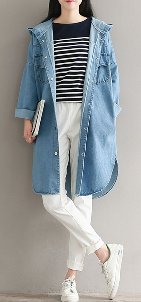 US$ 32.25 Women Single-Breasted Long Sleeve Side Split Hooded Denim Coats