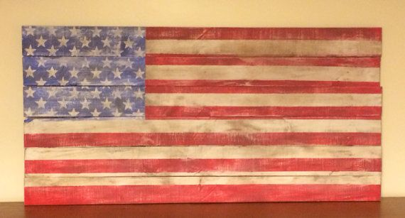Rustic hand painted wood pallet sign American Flag on Etsy, $60.00
