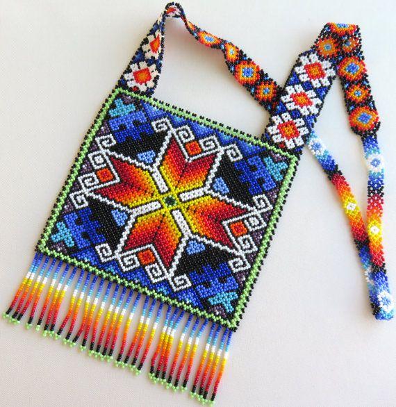 Plaza de Huichol de México cuentas collar estrella de por Aramara