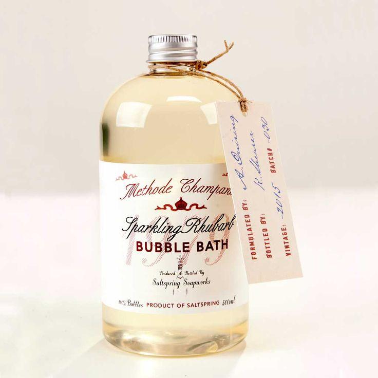 Sparkling Rhubarb Bubble Bath from Saltspring Soapworks