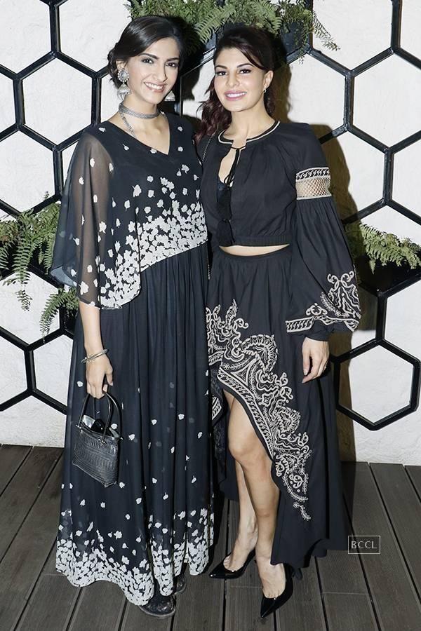 Sonam Kapoor and Jacqueline Fernandez at Arth restaurant's launch party