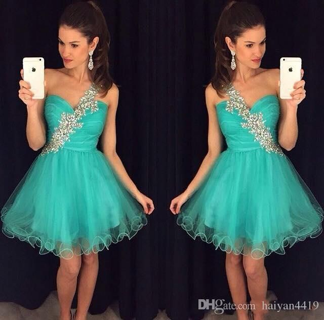 2016 New Cheap Turquoise Teal Homecoming Dresses Tulle One Shoulder Beaded Short Mini Party Dress Graduation Sexy Formal Cocktail Gowns Homecoming Dress Custom Made Homecoming Dresses Prom Short Party Dress Online with 99.43/Piece on Haiyan4419's Store   DHgate.com