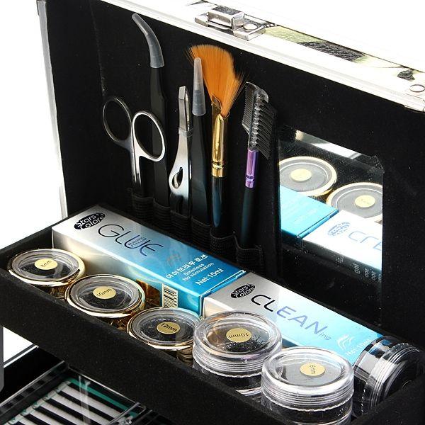 Professional False Eyelash Extension Glue Brush Kit Set Tool Box - US$74.66