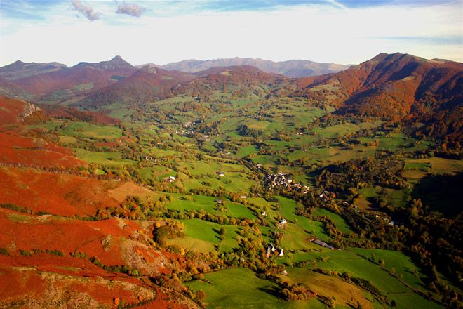Cantal Region of the Auvergne, France.  (This photo links to a site for a paragliding school in the region)