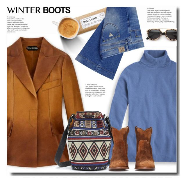 day-off by bynoor on Polyvore featuring polyvore fashion style GUESS Williams-Sonoma clothing winterboots