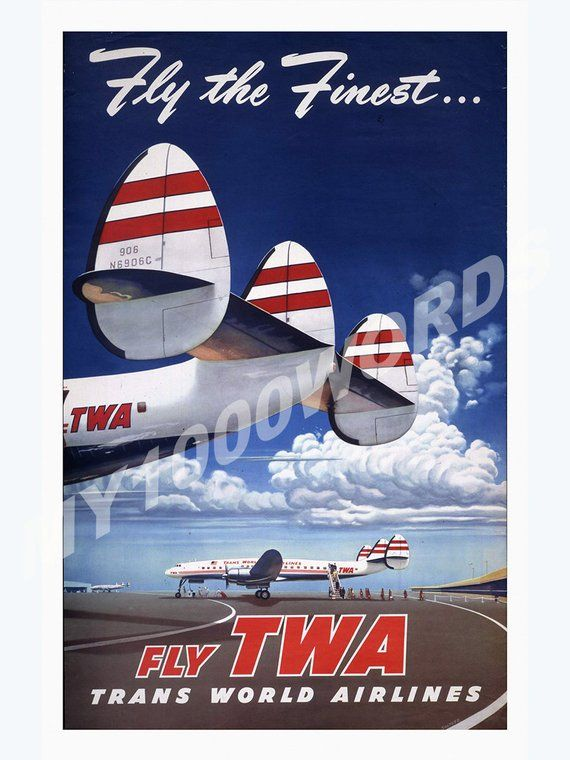 Golden Age Travel, Decorative Art Print, Fly The Finest, Air Travel ...