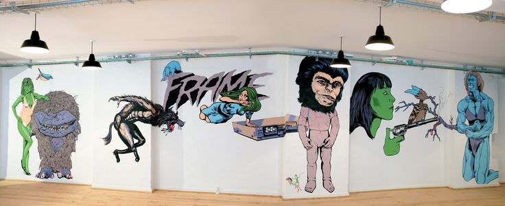 Our Creatives from Kamp Horst, Making a wallpainting at Frame in Copenhagen!