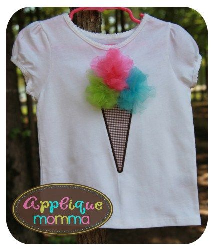 Tulle Ice Cream Cone Applique Design from applique momma