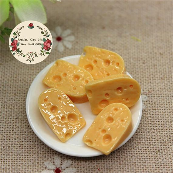 Mini Resin Cheese 10pcs Cute Cabochon Miniature Charm Food Art