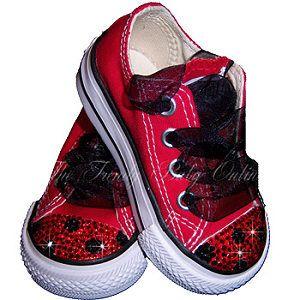 Swarovski Crystal Converse Shoes - Ladybug Bling Chuck Taylor Sneakers