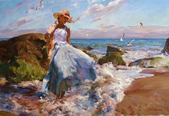 Небо, солнце, бушующее море, женственность и красота.