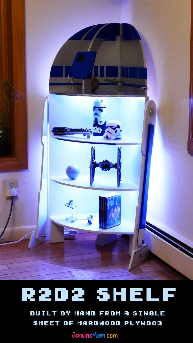How to build this cool R2-D2 shelf from a single sheet of hardwood plywood. Total material cost, with LED lights, is under $100!   JenuineMom.com