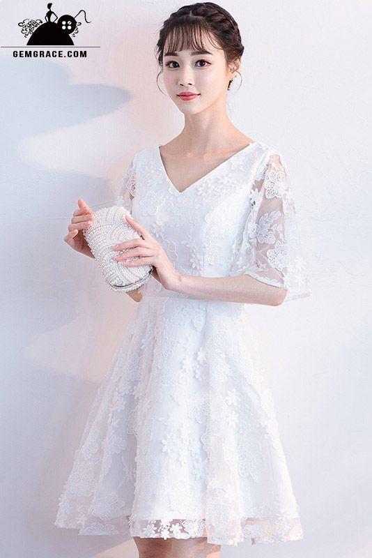 91c3fe27846c White lace sheer sleeve short wedding dress v-neck | Mature Beauty ...