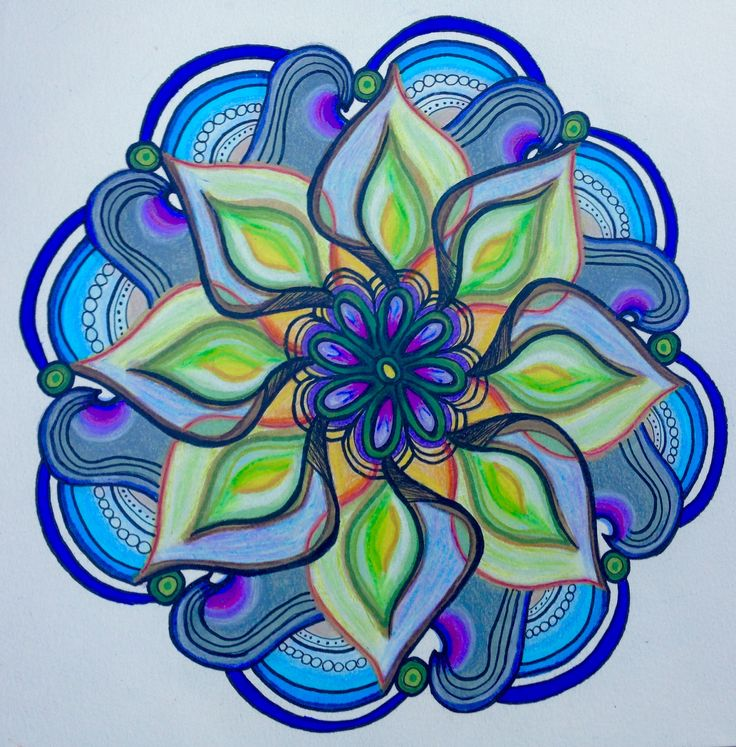 Mandala with Prismacolor markers, colored pencil and Micron pens.