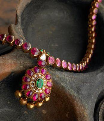 Elegant temple ruby jewellery from Arnav jewellers..
