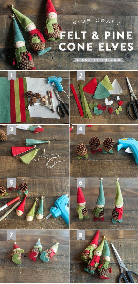 Πώς να φτιάξετε χριστουγεννιάτικα ξωτικά με κουκουνάρια και τσόχα!   Φτιάξτο μόνος σου - Κατασκευές DIY - Do it yourself