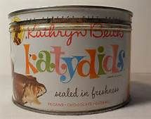 Retro Katydids Candy in metal tin.
