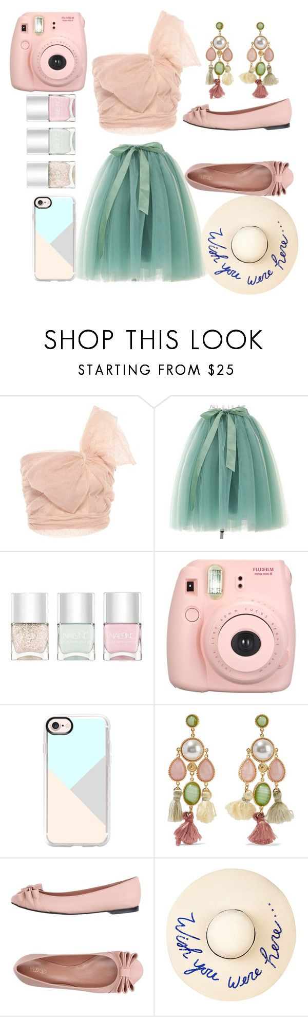 """""""Summer Dinner Outfit"""" by dramagirl4 ❤ liked on Polyvore featuring RED Valentino, Nails Inc., Fujifilm, Casetify, Ben-Amun and Eugenia Kim"""