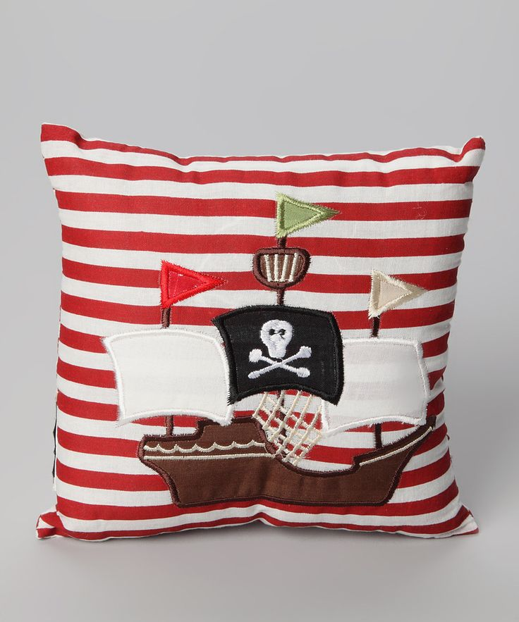Red & White Pirate Ship Cushion by Powell Craft  £7.99