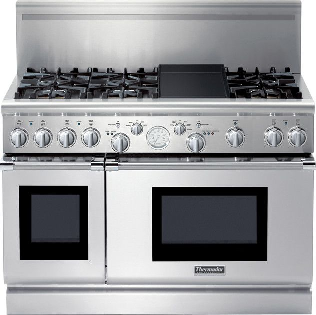 "THERMADOR PRD486EDG Pro Grand - 48"" Pro-Style Dual-Fuel Range with 6 Star Burners (2 with ExtraLow Simmer Settings), Titanium Surface Electric Griddle, Stainless Steel Cooktop Surface, 5.7 Large Oven Capacity and Third Element Convection"