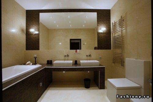 Темная мебель+светлые стены+светлый пол / интерьер с светлым полом