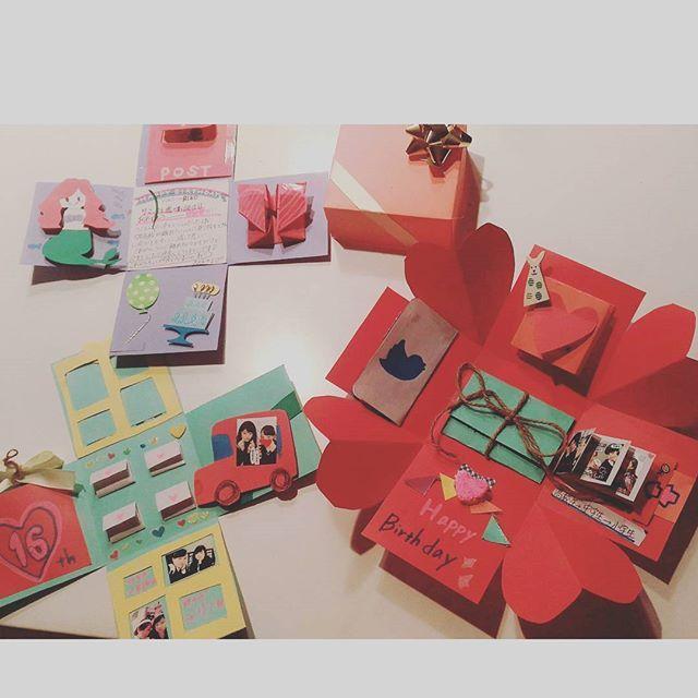 友達の誕生日プレゼントにプレゼントボックス作ったー!明日渡す!! 不器用だしであんま上手ではないけど、喜んでくれるといいな〜 #プレゼントボックス #サプライズボックス #友達の誕生日