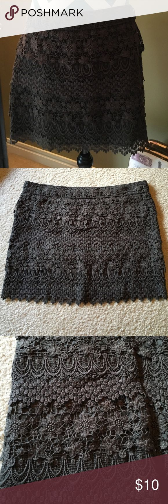 Gorgeous Lace Skirt Brown skirt with layers of crochet throughout. Worn a couple of times. American Eagle Outfitters Skirts Mini