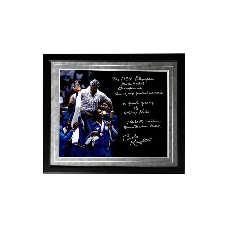 "Steiner Sports Indiana Hoosiers Bob Knight Winning Olympic Gold Facsimile 16"" x 20"" Framed Metallic Story Photo, Multicolor"