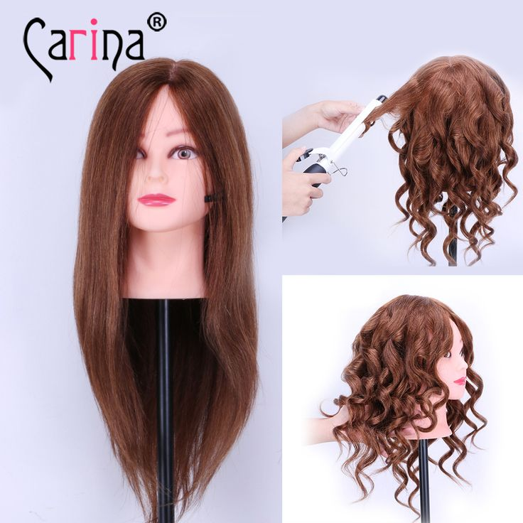 "100% Human Hair Mannequin Heads 18"" Brown Hair Professional Styling Mannequin Head Hairdresser Practice Maniqui Head For Sale"