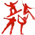 Winter Games Silhouettes In Red. Editable Vecto...