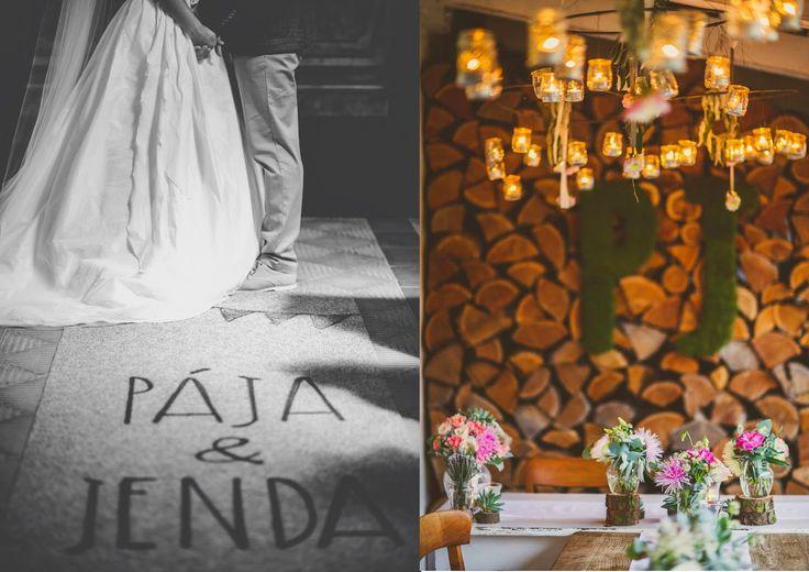 Návrh koberce, mechová písmena a dekorace na stole  Od Maud