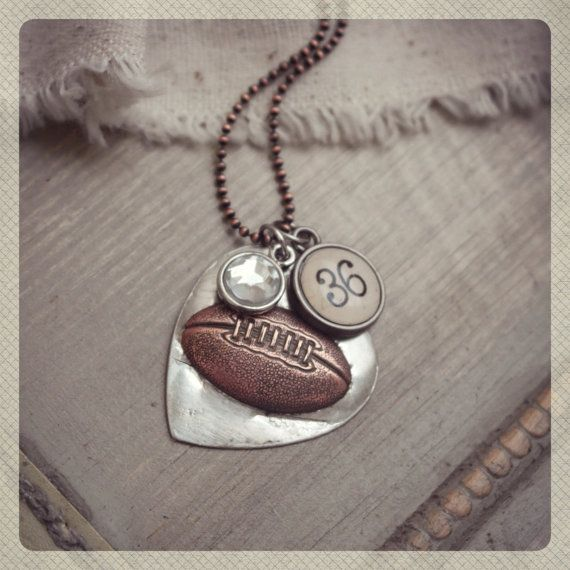 Football heart pendant with personalized team by kolejaxdesigns, $25.00