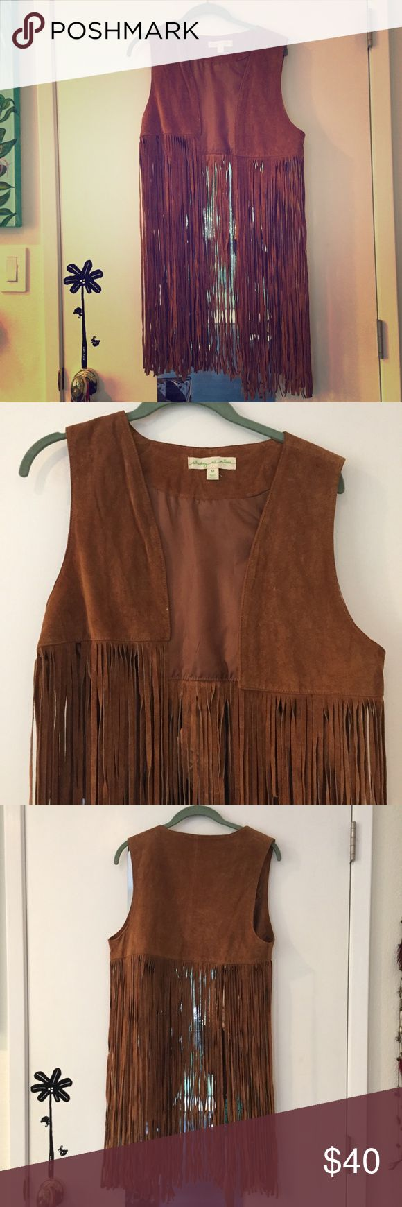 🚫SOLD🚫Staring at Stars boho fringe vest Perfect for festivals or just to the beach, pair it with some jean shorts and a bathing top and you're good to go! From urban outfitters, retailed for $80. Urban Outfitters Jackets & Coats