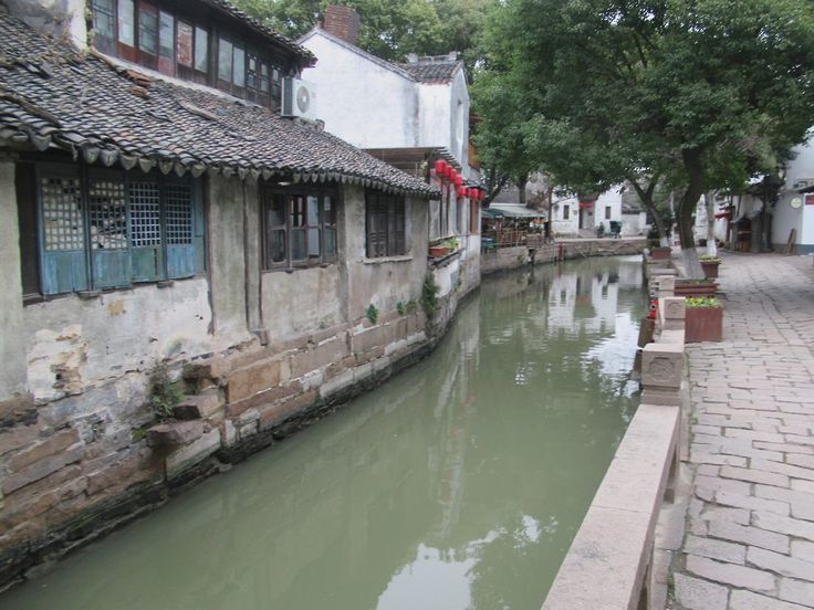 A canalside back street in the old town of Tongli, China.
