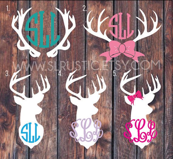 Deer Antler Monogram decal Monogram sticker Deer decal by SLrustic