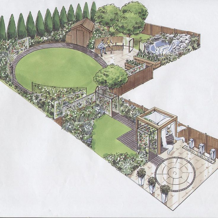 250 best Garden Designs and plans images on Pinterest ... on L Shaped Backyard Layout id=44161