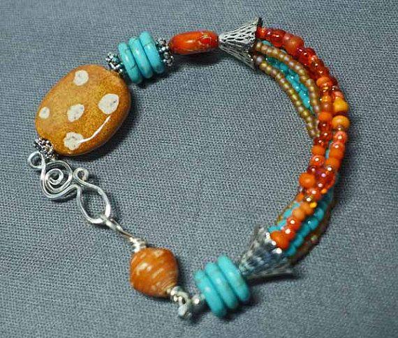 Orange Turquoise & Caramel African Kazuri Bracelet by fairchic
