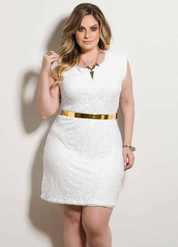 Vestido Tubinho Renda Branco Plus Size - Posthaus