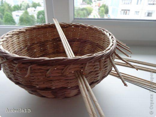 Мастер-класс Поделка изделие Плетение корзинки и мини МК ручки Трубочки бумажные фото 4