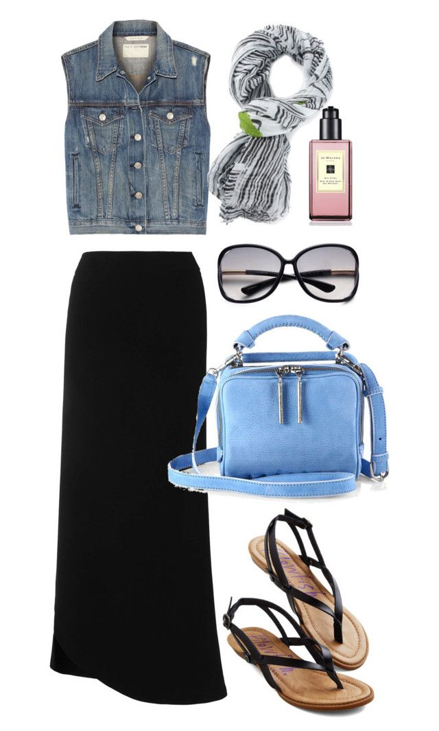 """Denim Vest"" by thestyleartisan ❤ liked on Polyvore featuring L.K.Bennett, rag & bone, Faliero Sarti, 3.1 Phillip Lim, Tom Ford, Jo Malone, Blowfish, maxiskirt, denimvest and summerscarf"