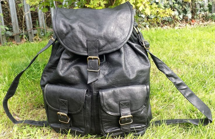 Vintage black leather backpack, messenger bag.  Large leather vintage messenger backpack, Leather festival, work, laptop, student backpack. by LuckSy on Etsy