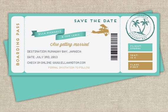 Boarding pass save the date on Etsy, $2.92 AUD | tarjetas ...