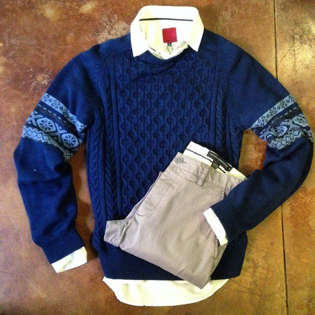 Easy dress up men's look: Civil Society button up, holiday sweater, French Connection pants. #menswear #shophouseofsage www.houseofsage.com www.facebook.com/shophouseofsage www.house-of-sage.shoptiques.com