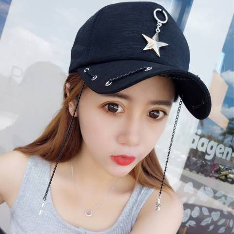 Stars baseball cap with metal chain for women hip hop style