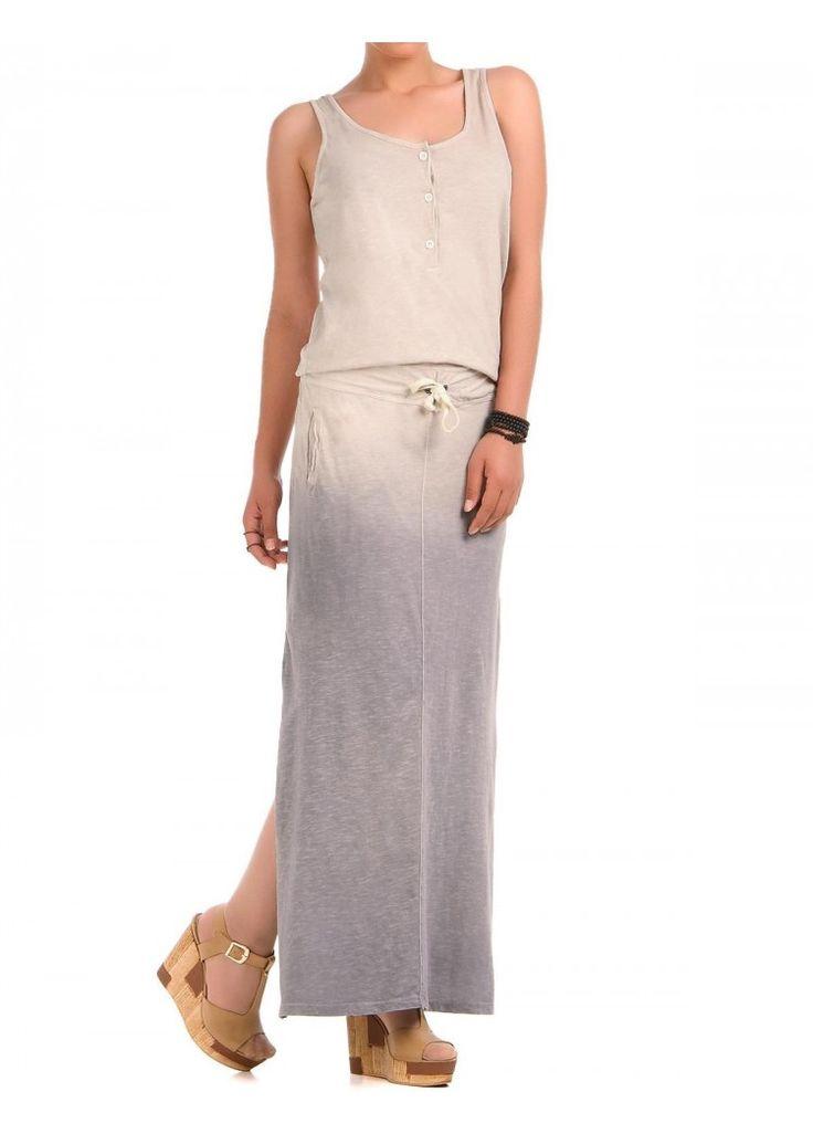 Gradient Yazlik Penye Elbise - Bej