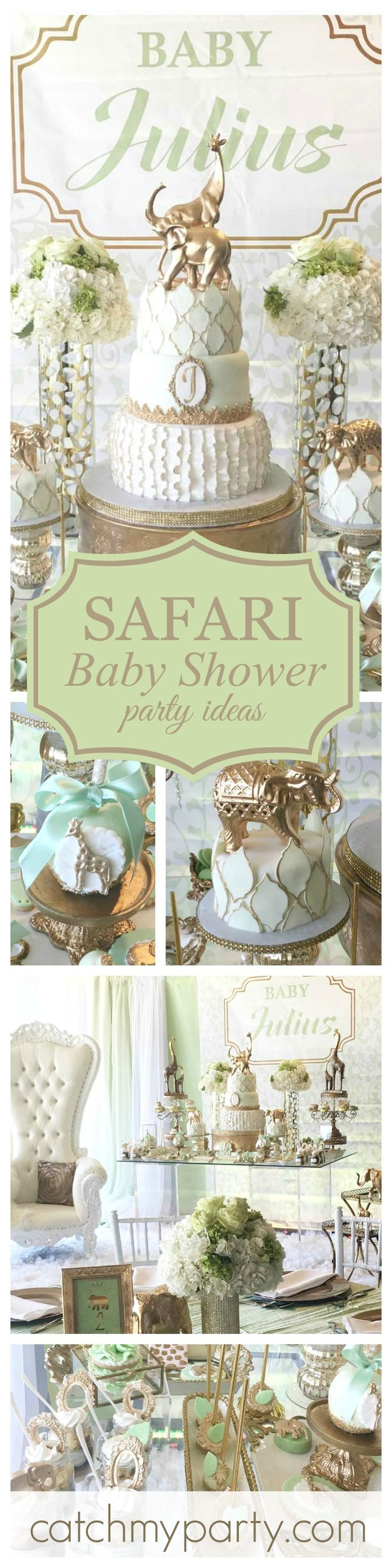 A fabulous Glam Safari baby shower! Just so beautiful! You won't want to miss this cake! The gold animal toppers give it that extra special elegant touch!