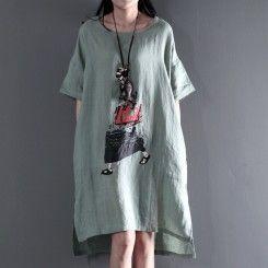 Light green linen maxi dresses summer casual dress plus size sundress