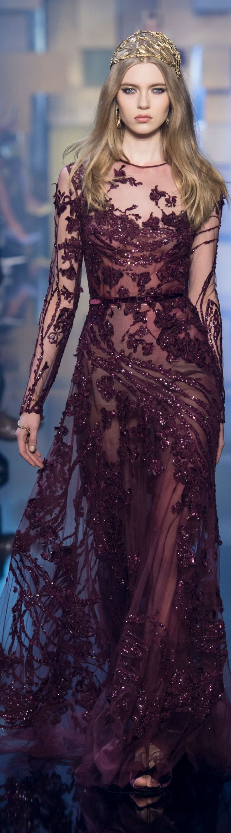 Elie Saab ~ Couture Embroidered Burgundy Sheer Sequin Long Sleeve Gown 2015